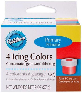 Wilton Witon Icing Colors 4/Pkg-Lemon Yellow/Sky Blue/Xmas Red/Brown