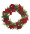 Christmas 38\u0027\u0027 Hydrangea, Amaryllis, Berry & Pinecone Wreath-Red & Green