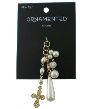 hildie & jo Ornamented 3'' Gold Dangle Charm-Oval Pearls
