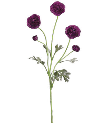 "Bloom Room 28"" Ranunculus Spray-Purple"