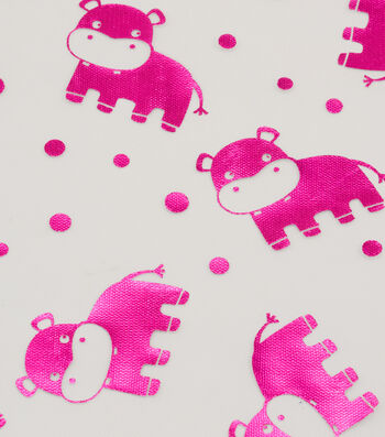 Specialty Netting Fabric 57''-Pink Foil Hippo