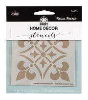 FolkArt Home Decor 4''x4'' Laser Cut Stencil-Regal French, , hi-res