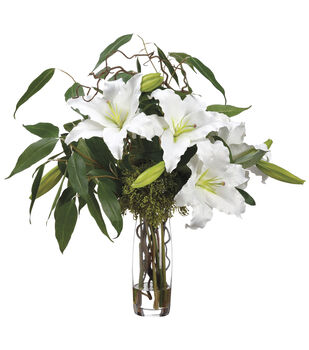Casablanca Lilies & Eucalyptus in Glass Vase 30''-White