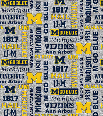 Michigan Wolverines Fleece Fabric-Verbiage on Heather