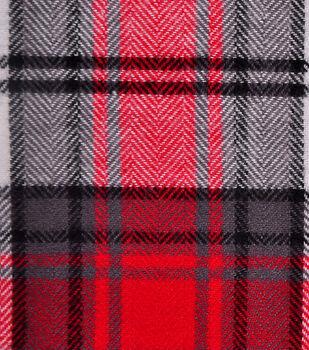 Shirting Cotton Flannel Fabric-Black, Red & White Plaid