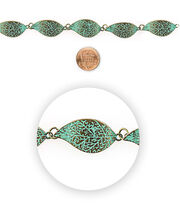 Blue Moon Bead Strands Patina Metal Large Leaf, , hi-res