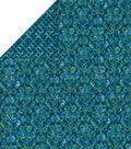 Double Faced Quilt Fabric-Teal Floral Glitter
