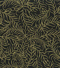 Premium Cotton Fabric-Gold Flowing Leave on Black