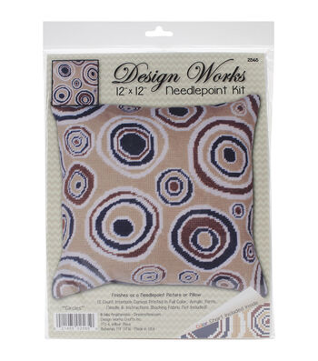 "Design Works Neeedlepoint Kit 12""X12""-Circles-Stitched In Yarn"