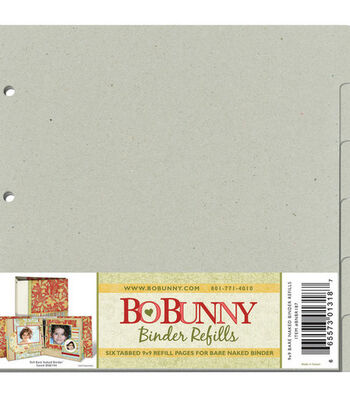 "Bo Bunny Bare Naked 9""x9"" 3-Ring Binder Refills-6PK"
