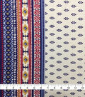 Knit Prints Rayon Spandex Fabric-Yellow Blue Geo Border