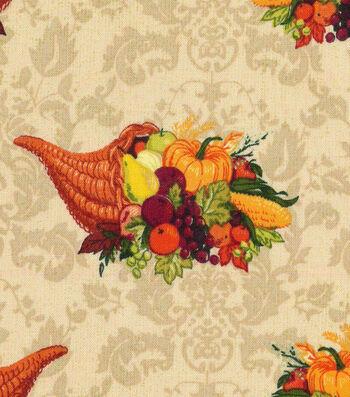 """Harvest Cotton Fabric 43""""-Tossed Cornucopia"""