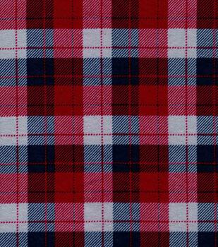 Snuggle Flannel Fabric -Skylar Gray, Blue & Red Plaid