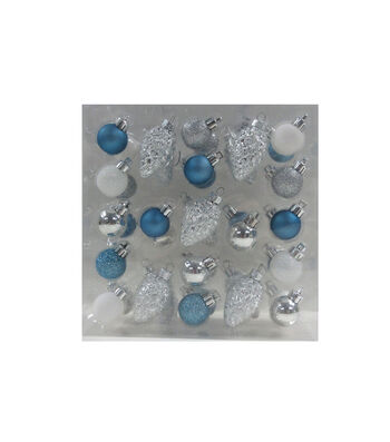 Maker's Holiday Christmas Arctic Frost 42 pk Mini Boxed Ornaments