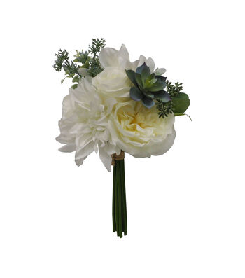 Fresh Picked Spring 12'' Dahlia & Succulent Bouquet-White