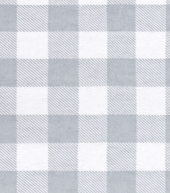 "Snuggle Flannel Fabric 42""-White Gray Buffalo Check"