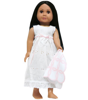 Springfield Boutique Nightie Outfit-White Nightie W/Pink and White Blanket