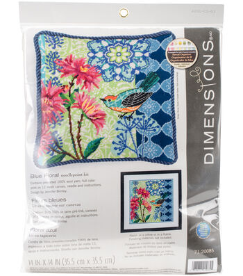 Dimensions Jennifer Brinley 14''x14'' Wool Needlepoint Kit-Blue Floral