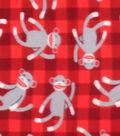 Blizzard Fleece Fabric 59\u0022-Sock Monkey Red Check