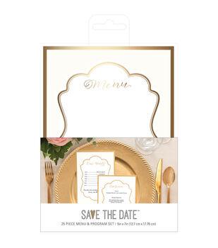 Save the Date Traditional Menu & Program Set-Gold
