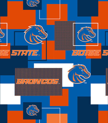 Boise State University Broncos Cotton Fabric -Modern Block