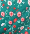 Doodles Cotton Interlock Fabric 57\u0022-Turquoise Coral Floral Garden