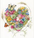 LanArte Counted Cross Stitch Kit 12.4\u0022X14\u0022-Heart of Flowers on Evenweave