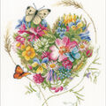LanArte Counted Cross Stitch Kit-Heart of Flowers on Evenweave