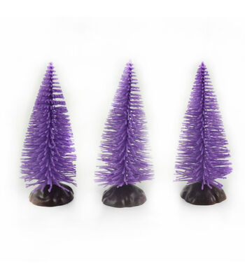 Maker's Halloween Littles 3 pk Trees-Purple