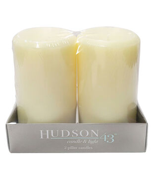 Hudson 43 Candle&Light Collection 2 Pack 3X5 Smooth Pillar Cream