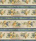 Vintage Cotton Fabric 43\u0022-Floral Stripe Tan