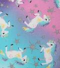Novelty Cotton Fabric -Unicorns & Glitter Stars