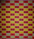 Global Cotton Shirting Fabric-Red & Yellow Stripe Blocks