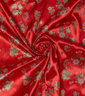 Disney Elena of Avalor Satin Fabric -Red Glitter Floral