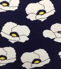 Knit Prints Rayon Spandex Fabric-Navy White Yellow Big Poppies