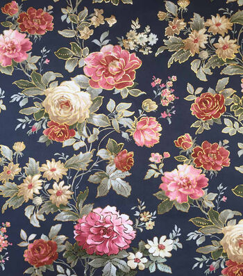 "Scuba Knit Fabric 57""-Navy Rose Floral Foiled"