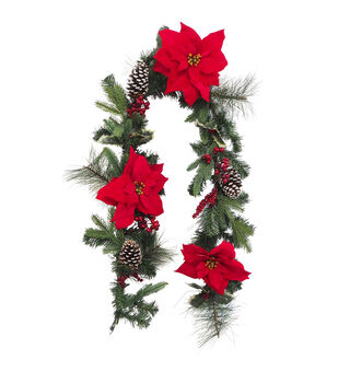 Handmade Holiday Pine, Frosted Pinecone, Red Poinsettia & Berry Garland