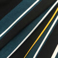 Ember Knit Prints Double Brushed Fabric-Black, Teal & Yellow Stripe