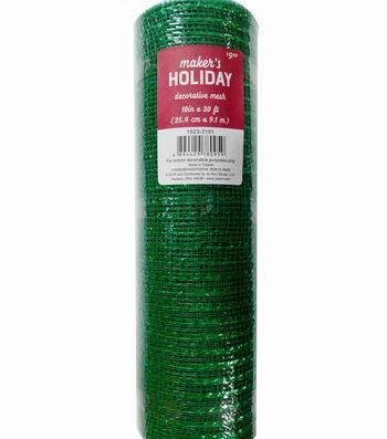 Maker's Holiday Christmas Decorative Mesh Ribbon 10''x30'-Green