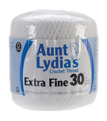 Aunt Lydia's Extra Fine Crochet Thread Size 30-White Multipack of 12