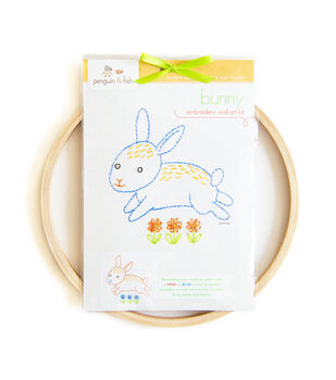 "Penguin & Fish Embroidery Kits 8"" Round Stitched In Floss-Bunny"