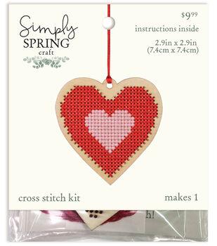 Simply Spring Craft Valentine's Day Wood Heart Cross Stitch Kit