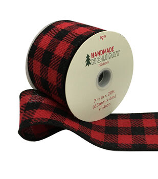 Handmade Holiday Christmas Ribbon 2.5''x20'-Red & Black Checks