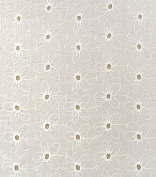 Warm Weather Apparel Fabric-Eyelet White Cotton