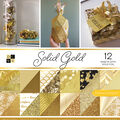 Park Lane Pack of 12 12\u0027\u0027x12\u0027\u0027 Premium Printed Cardstock Stack-Solid Gold