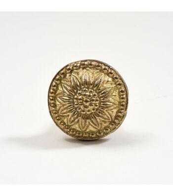 Dritz Home Cast Iron Flower Medallion Knob-Brass