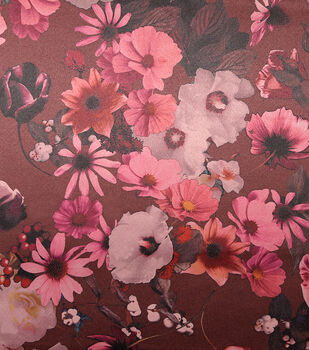 Casa Embellish Satin Fabric 57''-Blackberry Wine Watercolor Floral