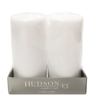 """Hudson 43 Candle & Light Collection 2pc 3""""X6"""" Unscented Pillar Candles-White"""