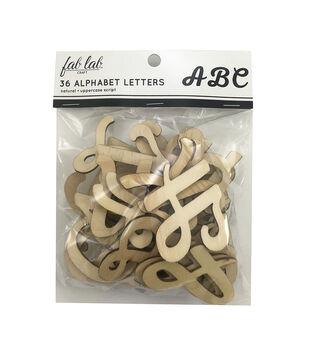 Fab Lab Craft 36 pk Uppercase Script Alphabet Letters-Natural