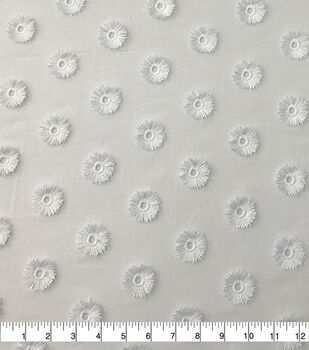 Specialty Cotton 3D Circle Embroidered Fabric-White